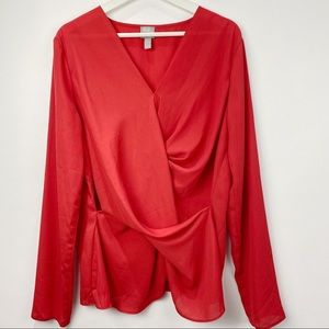 ASOS gathered red long sleeve blouse